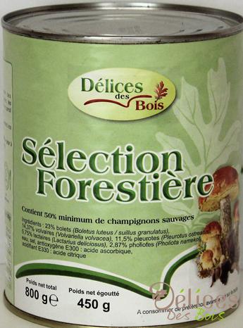 Champignons appertisés sélection forestière